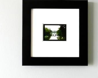 10x10 Framed Photography, Chinese Photography, Lake Landscape,Miniature Art Framed,Asian Art Print,Girl on a Bridge,China Travel Photography