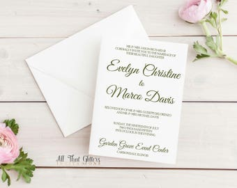 Formal invitation etsy elegant calligraphy wedding invitation simple script formal invitation wedding invites cheap invitations stopboris Image collections