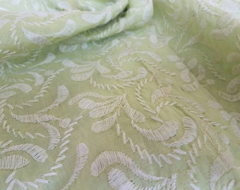 Vintage Sheer Voile Embroidered Cotton Sewing Material - Mint Green + White Gauzy Fabric, Romantic Shirt / Clothing Fabric, Seamstress Tool