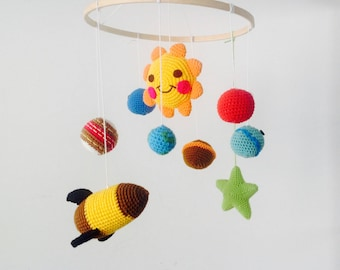 PRE-ORDER Rocket in The Universe Baby Mobile, Solar System Baby Mobile, Crochet Planet Baby Mobile, Universe Mobile, Planet Baby Mobile,