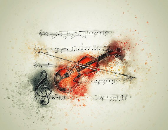 violin watercolor art print