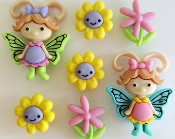 FLOWERS & FLUTTER BUGS - Fairy Butterfly Girl Wings Dress It Up Craft Buttons