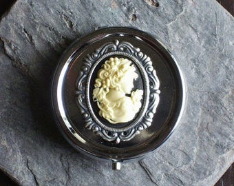 Silver cameo pill box container, bridesmaid gift, holiday gift ideas, unique Christmas gift, gifts for mom, gift ideas for her