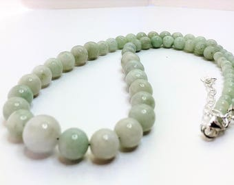 Green Burmese Jadeite Necklace Genuine Jadeite Necklace Chinese Gemstone Jewelry Unique Gift for Her Exquisite Green Necklace Wife Gift
