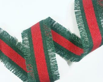 Red Green Striped Trim Ribbon, Fringe Lurex Double Face Trim