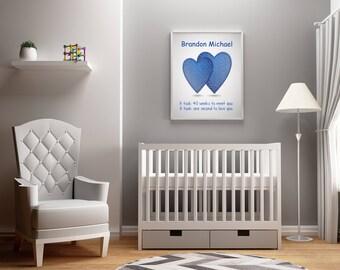Baby Artwork, Newborn Gift, Newborn Artwork, Personalized Nursery Artwork, New Parent Gift, Personalized Newborn Gift,  Baby Boy Gift