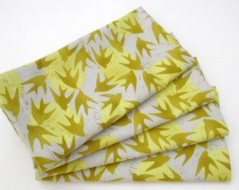 Large Cloth Napkins - Set of 4 - Gray Silver Gold Yellow - Dinner, Table, Everyday, Wedding