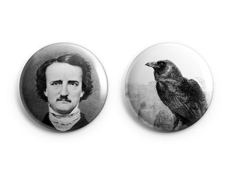 Edgar Allen Poe, The Raven - Pinback Button, Magnet, or Flair, Poe badges, Poe pinback buttons, Poe tribute