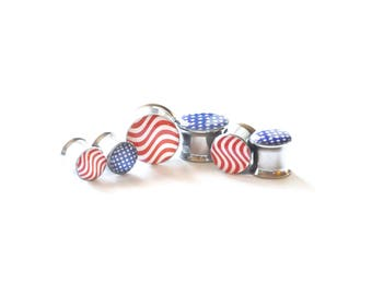 American Flag Ear Plugs / 4th of July / Independence Day Jewelry / Patriotic Jewelry /  USA / Stars and Stripes / Red White Blue / Gauges