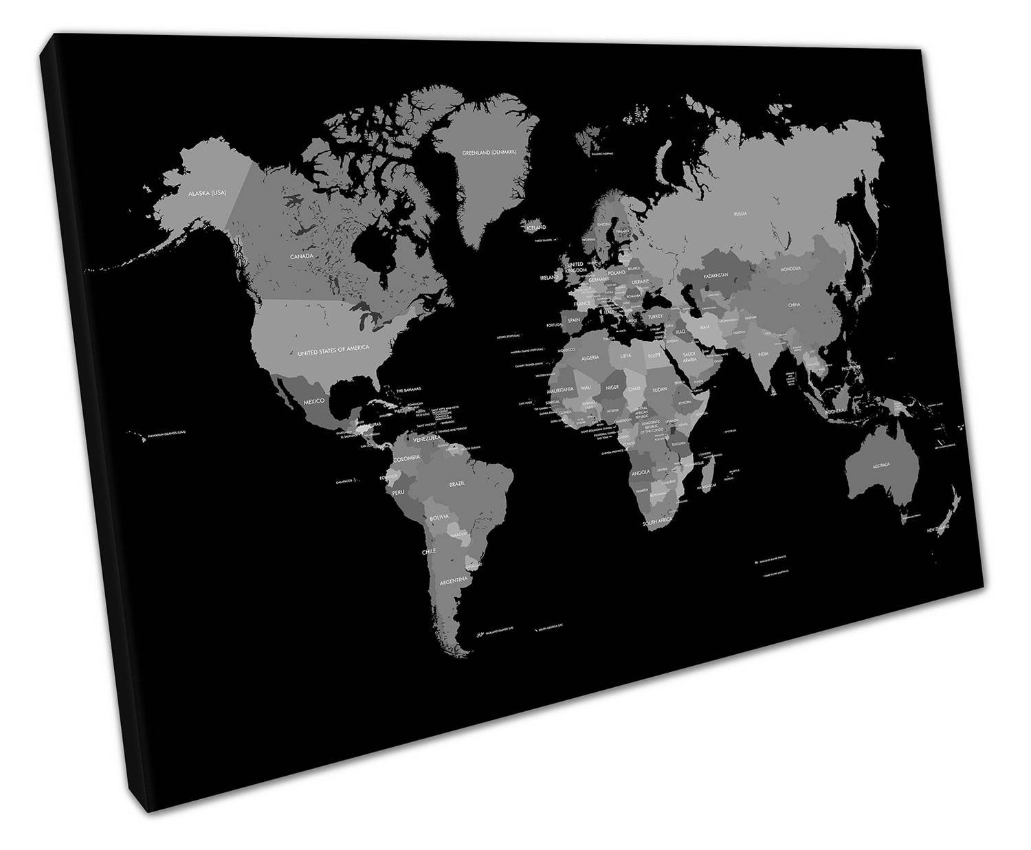 Black white world map canvas wall art picture large 75 x 50 cm zoom publicscrutiny Image collections