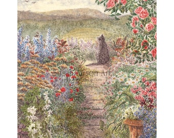 Tabby cat in garden 5x7 8x10 11x14 art print flowers floral roses silver from Susan Alison watercolour painting garden view landscape birds