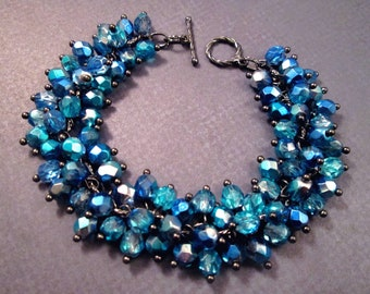 Cha Cha Style Bracelet, Electric Blue Glass Beaded, Gunmetal Silver Chain Bracelet, FREE Shipping U.S.