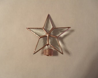 Tiny Four Inch Star Rosemary Bust Topper, Bottle Brush Topper, Table Top Star in Beveled Glass