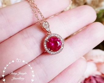 Round ruby pendant, Halo ruby necklace, Halo round ruby pendant, solitaire necklace, July birthstone pendant, red stone pendant