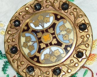 Gorgeous Large Champleve French Enamel Brass Button ~ Lovely Vibrant Colors ~ Quatrefoil Design ~ Floral Border with Riveted Cut Steels ~