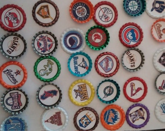 All 30 MLB major league baseball teams bottle cap magnets cupcake toppers or for bows