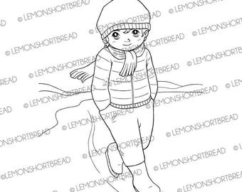 Digital Stamp Ice Skating Guy, Digi Download Winter Boy, Christmas Sports, Snow, Cartoon Clip Art, Coloring Page, Scrapbooking Supplies