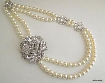 Pearl Necklace Bridal Rhinestone Necklace bridal pearl necklace wedding necklace rhinestone necklace bridal statement necklace ANGELINA