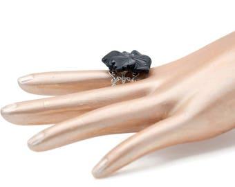 Big Black Flower Adjustable Statement Ring