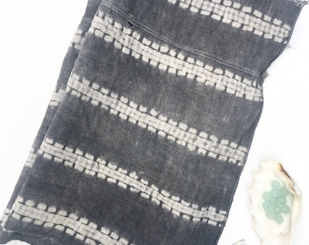 Gray Shibori Fabric completely hand made, Hill Tribe Vintage Textile, Asia