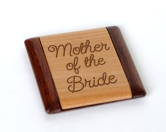 Mother of the Bride Wood Compact Mirror