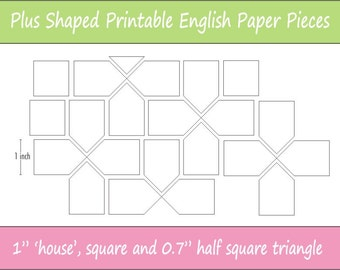 "1"" Printable Plus Shaped Pieces for English Paper Piecing 