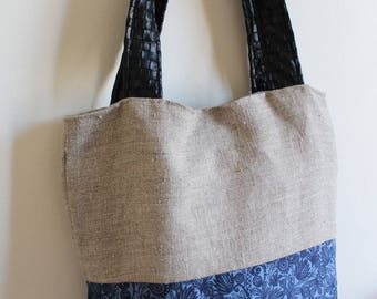 Bombay bag linen & faux weave