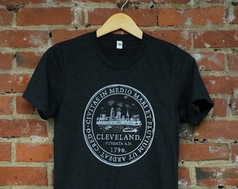 Unisex Charcoal Black Tri-Blend Supersoft Tee with Cleveland 'City Seal' in White Ink
