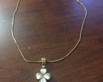 Mother of Pearl gold cross necklace