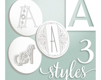 Modern Monograms Letter A hand embroidery patterns in three styles Alphabet Letter embroidery designs by SeptemberHouse
