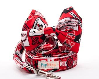 Nebraska Cornhuskers Dog Leash//Nebraska Cornhuskers Bow Tie//Nebraska Cornhuskers Designer Dog Lead//Cornhuskers Dog Gear//College Dog Gear
