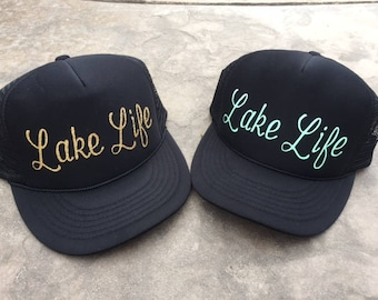 Lake Life Trucker Hat  |  Lake Hat  | Summer Hat | Beach Hat  |  Lake Life | Beach Life |  Trucker Hat  |  Mermaid Hat | Mother's Day Gift