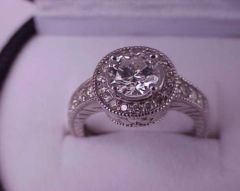 Estate Vintage  14k White Gold VS/H 1.57cttw Natural  Diamond Ring comes with Appraisal Certificate