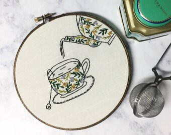 Teacup and Teapot Hand Embroidery