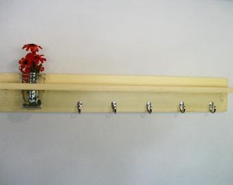 Wood Wall Shelf  Hooks Bold Buttery Yellow Color Cottage 5 Hooks