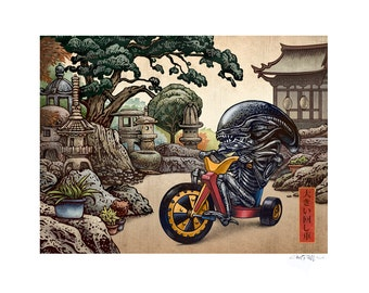 Big Wheel 11 x 14 Signed Print -Alien on Big Wheel Tricycle Japanese Style