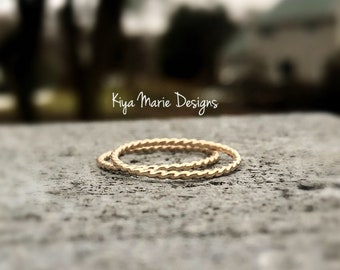 Gold filled twisted stacking bands, gold filled rings, gold jewelry, gold rope rings