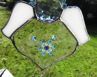 Blue Snowflake Beveled Glass  Angel Suncatcher Ornament