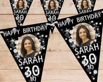 Personalised Happy Birthday PHOTO Flag Banner Bunting inc ribbon N70 (10 Flags ) Black Silver Hanging Decoration 18th 21st 30th 40th Any Age