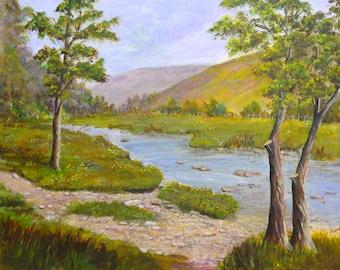 Vintage Painting Doone Valley Exmoor Beryl Sime Mixed Media Painting OOAK Painting Seascape Coastal Painting Landscape Painting Watercolor