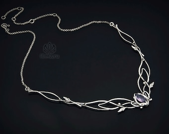 Sterling silver necklace with Amethysts elegant elven design wire wrap wedding accessory medieval art nouvue renaissance elvish jewellery