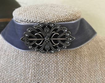 "1"" Charcoal Gray velvet choker with Antique Silver pendant."
