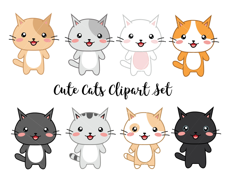 Vector Clipart Kawaii Cats Cute Cats Clipart Set High
