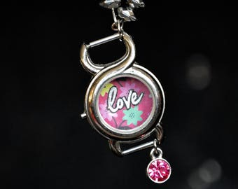 Love. Love Necklace. Repurposed necklace. Watch. Watch Necklace. Unique Necklace. Statement Jewelry. Gift for her. Flower. Gift. Steampunk