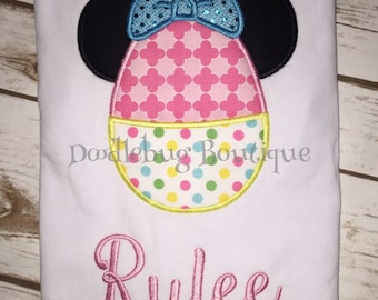 Minnie Mouse Easter egg shirt with name