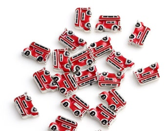 Bus Floating Charms for Living Lockets, Glass Memory Lockets