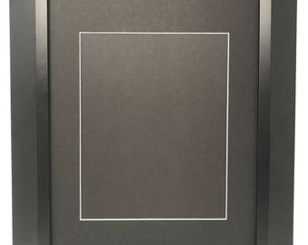 """11x14 2"""" 2"""" Black Beveled Contemporary Solid Wood Picture Frame with Black Mat Cut for8.5x11 Picture"""