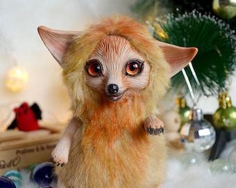 Fox art doll art toy handmade ooak Fantasy Creature