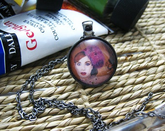 Pendant Necklace - All That Girls Love - By Mixed Media Artist Malinda Prudhomme