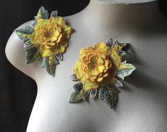 2 3D Yellow Lace Appliques Rose Appliques for Garments, Costume Design CA 830y